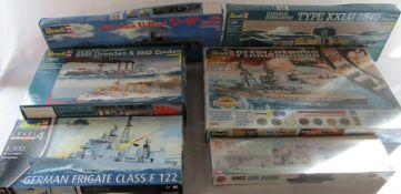6 Revell and Airfix model boat kits inc Pearl Harbour, German u-boat U47, German frigate class