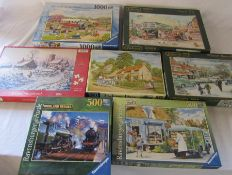 Selection of jigsaws by Ravensburger and Falcon etc inc Halcyon days, Old swing bridge and Coach