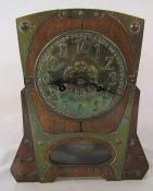 Arts & Crafts wood and metal mantel clock H 30 cm