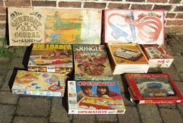 Selection of vintage board games and toys inc gunfight at the o.k corral, big loader, operation,