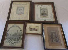 Assorted Stevengraph / J Caldicott embroidered pictures / weaving on silk relating to Coventry