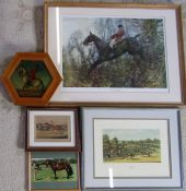 Various prints and engravings relating to horse racing / hunting inc Epsom Preparing to Start, print