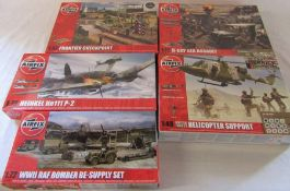 Airfix model kits inc Frontier checkpoint, D-day sea assault, WWII RAF bomber re-supply set and