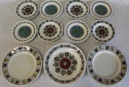 11 Broadhurst side plates & 8 dinner plates with Kathie Winkle Romany, Rushtone & Alicante patterns