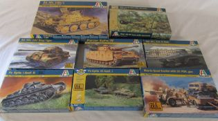 8 Italeri model kits inc 182 King Tiger, Panzer Kpfw IV and Morris quad tractor with 25 PDR gun