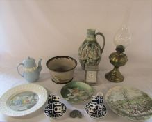 Various ceramics inc Glynn Colledge Denby jug, Wedgwood teapot, Tally Ho 'The kill' plate by Johnson