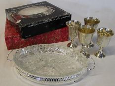 4 EPNS goblets, 2 galleried trays with liner & boxed set of silver plated placemats