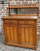 Late Victorian oak mirror back chiffonier with integral wine cooler tray