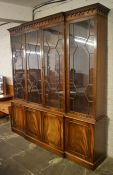 Reproduction Georgian Chippendale style breakfront display bookcase W202 Ht215cm