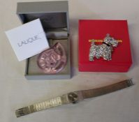 Lalique pink pressed glass pendant with pink cord & original box, Butler & Wilson Scottie dog brooch
