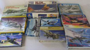 Selection of Italerie model kits inc Gulf War Jaguar A, DC-130 Director, Douglas C-47 skytrain &