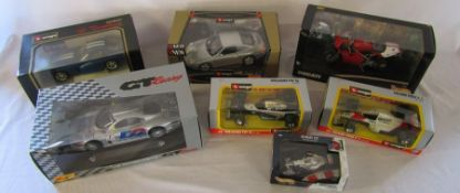 Selection of boxed die cast cars inc Burago and a Ducati motor bike