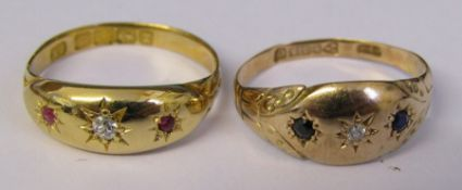18ct gold gypsy ring with diamond and ruby chips size O weight 3.2 g & 9ct gold gypsy ring with