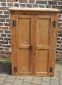 Pine cupboard with H brackets. Piece missing from top side. W83cm H123cm D29cm