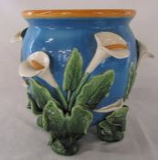 Lily pattern majolica planter (two flowers af) H 27 cm