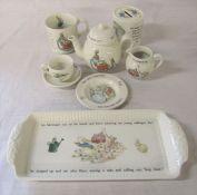 Wedgwood Peter Rabbit miniature / childs tea set consisting of teapot, jug, plate, cup and saucer