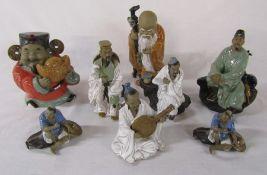 Various Oriental pottery figures (2 white clothed figures af) & eggshell porcelain part tea