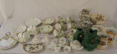 Various ceramics inc part tea sets, graduated jugs, fish vases etc (2 boxes)