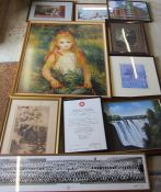 Various prints etc inc large photograph of Old Clee Girls Grammar School, Cleethorpes 1954
