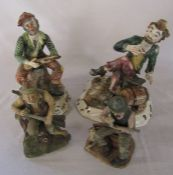 2 large Capodimonte tramp figurines (af) & 2 others
