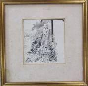 Framed pen and ink drawing by Alfred Parsons RA 'Wonderings in Japan 1896' monogrammed 36 cm x 36 cm
