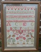 Framed 19th century sampler 52cm by 38cm
