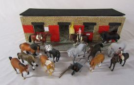 Toy stables with 13 toy horses by Trakehner and Collect  with 2 riders and tack