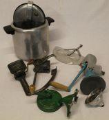 Vintage kitchen equipment including a pressure cooker, bean slicer, mincer etc.