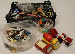 Selection of toys including plastic farm animals, cowboys and Indians, Tonka Tractor etc.