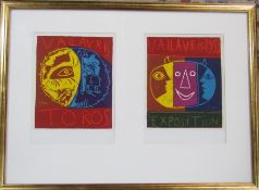 Framed Pablo Picasso (1881-1973) pair of lithographic prints 'Vallauris Exposition 1956' published
