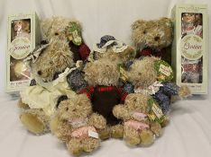 "8 modern teddy bears from The Family Bear Collection & 2 boxed porcelain dolls ""Jessica"" & ""Louisa"""