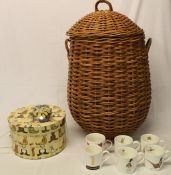 Wicker laundry basket, AA car badge, selection of mugs & Teddy hat box