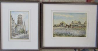 2 framed pen and ink drawings 27 cm x 33 cm and 38 cm x 30 cm (size including frame)