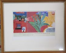 Framed David Hockney (b.1937) lithographic exhibition poster print 'Metropolitan Museum of Art 1988'