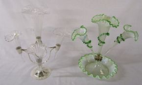 2 glass epergnes - vaseline glass (missing side flutes) & silver plate and clear glass (one glass