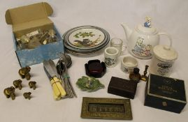 Selection of various collectables including brass elephants, perfume bottles, brass letter plate