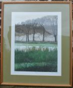 Limited edition print 'River Mist' signed in pencil James Clark 9/195 frame size 73cm by 62cm