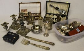 Selection of silver plate including cutlery and candlesticks