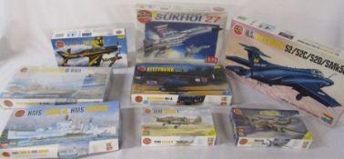 8 Airfix model kits inc HMS Buccaneer, HMS Tiger and HMS Daring, Sukhoi 27 and Kittyhawk
