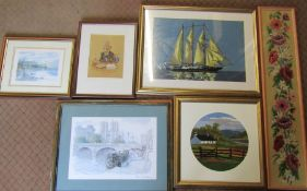 Various prints, needlework and pen & ink pictures