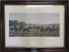 Framed engraving 'McQueen's Racing - Turf Favourites 1887', painted by Harrington Bird engraved by C