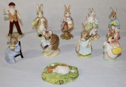 10 Royal Albert Beatrix Potter figurines (with boxes) Timmy Willie Sleeping, Benjamin ate a