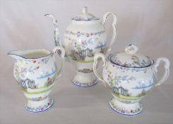 Royal Albert 'Rosedale' pattern coffee pot, lidded sugar bowl and jug c.1930s