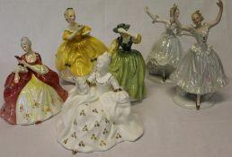 4 Royal Doulton figurines Antoinette HN2326, Buttercup HN2309 The Last Waltz HN2315 Wistful