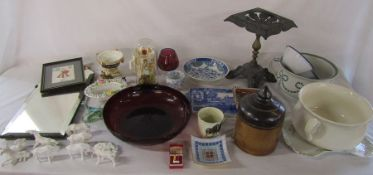 Various ceramics and glassware etc inc chamber pots, mirror, trivet etc (2 boxes)