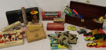 Selection of toys / games including McDonalds Hot Wheels, card games, Corgi Omnibus etc.