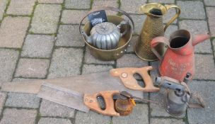 2 saws, jam pan, oil cans etc
