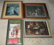 3 framed prints including 'Highland Music' & a Sir Joseph Causton & Sons Ltd 1906 calendar
