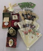 Selection of enamel boxes, fans, crochet needles etc