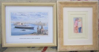 2 framed prints - Secrets and Queen Elizabeth II Maiden Call to Malta 29th October 1998